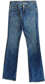 bebe Carmen Rhinestone Splatter Jeans - Size 26