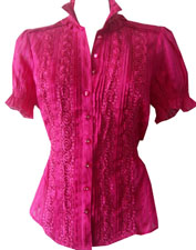 bebe Lace Trim Collar Shirt- Size S
