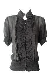 bebe Sheer Ruffle Blouse- Size M